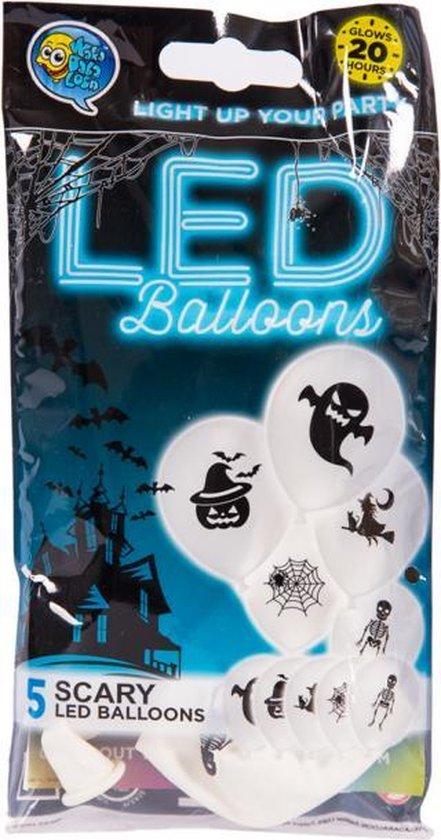 LED Ballonnen Gost Face 30cm – 5 stuks