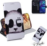 Let op type!! Panda patroon gekleurde tekening horizontale Flip lederen case voor Huawei Y7 Prime (2019)/Y7 Pro (2019)/genieten van 9  met houder & card slots & portemonnee