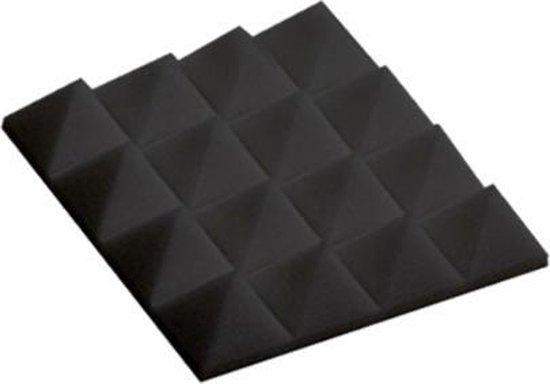 Akoestisch Studioschuim, Geluidsdemping panelen, Pyramid Tiles - 25 x 25 x 5 cm - Zwart