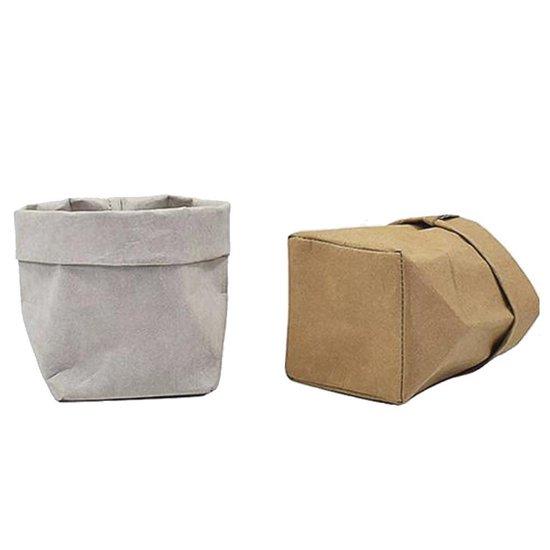 QUVIO Plantenzak uitwasbaar / Bloempot duurzaam / Plantenbak / Kraftpapier / Milieuvriendelijk / 9x9x15cm - Bruin