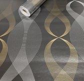 Fotobehang - Zelfklevende folie - Gouden en Zilveren Golven
