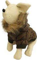 Winterjas voor de hond in de kleur bruin / groen met bont randje op de muts - M ( rug lengte 25 cm, borst omvang 34 cm, nek omvang 28 cm )