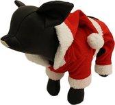 Fleece broekje en jasje voor de kerst - L ( rug lengte 20 cm, borst omvang 38 cm, nek omvang 30 cm )