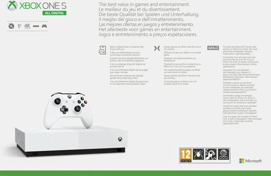 Xbox One S console 1TB - All-Digital (zonder disc-drive) + Fortnite + Sea of Thieves + Minecraft