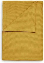 HnL Living Wafel - Plaid - Katoen - 240 x 260 cm - Curry Yellow