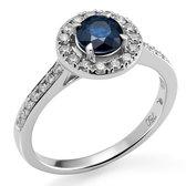 Orphelia RD-3916/SA/50 - Ring - 18 Karaat Witgoud - Diamant 0.30 ct / Saffier 0.72 ct - Maat 50