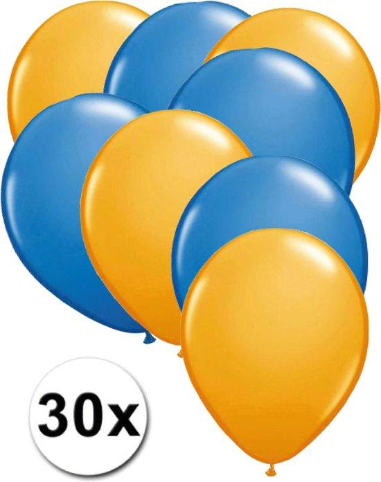 Ballonnen Oranje & Blauw 30 stuks 27 cm