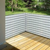 Balkondoek Balkonscherm - Balkon Afscherming - Winddoek Afrastering 90x500 Centimeter - Balkonzeil 5 Meter - Grijs/Wit