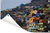 Kleurrijke huizen in Lima Tuinposter 60x40 cm - klein - Tuindoek / Buitencanvas / Schilderijen voor buiten (tuin decoratie)