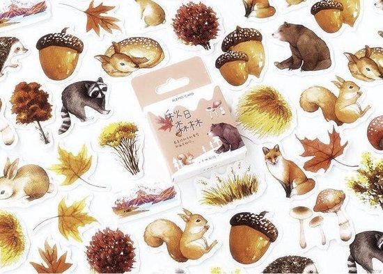 Stickerset met 46 stickers Het Bos