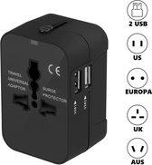 Cless - Universele Wereldstekker met 2 USB Poorten - Voor 150 landen - Zwart