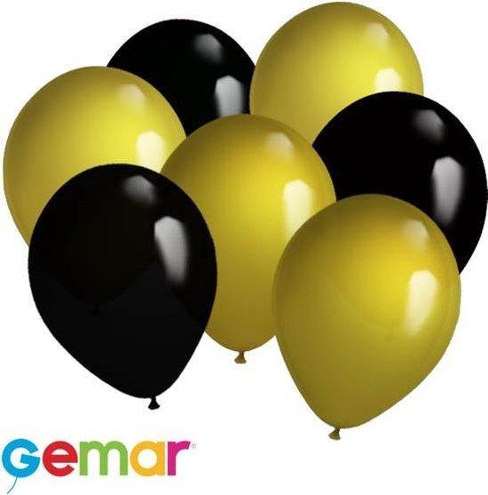 30x Ballonnen Zwart en Goud (Ook geschikt voor Helium)