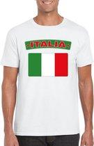 T-shirt met Italiaanse vlag wit heren 2XL
