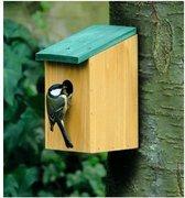 Houten vogelhuisje/nestkastje met groen dak 22 cm - Vogelhuisjes tuindecoraties