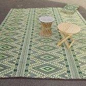 Buitenkleed 270 x 360 cm, Groen/ Geel/ Zwart/ Wit