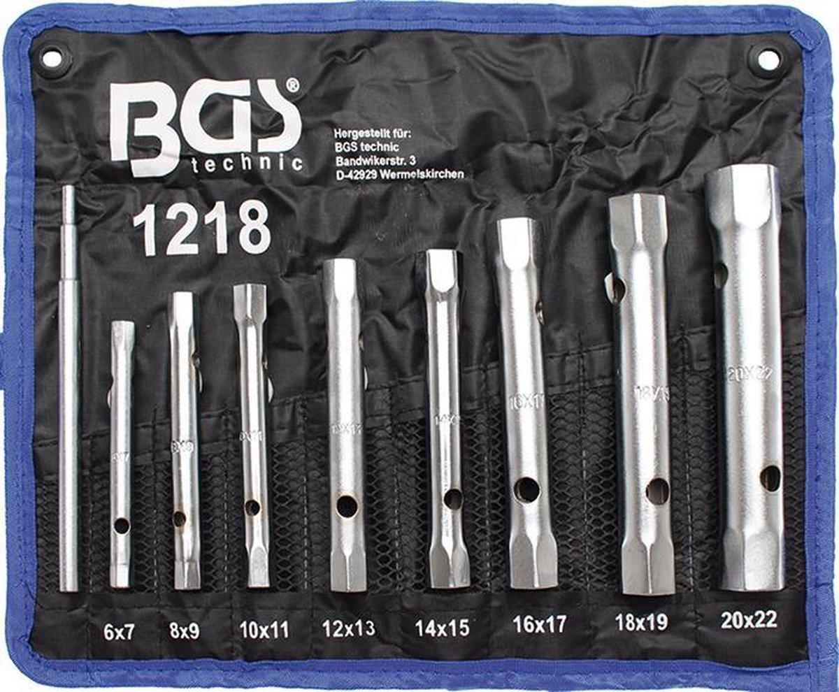 BGS pijpsleutelset - 8-delig - met handige roltas - hoogwaardig chrome vanadium staal - BGS1218