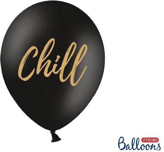 Ballonnen zwart Chill goud 50 stuks