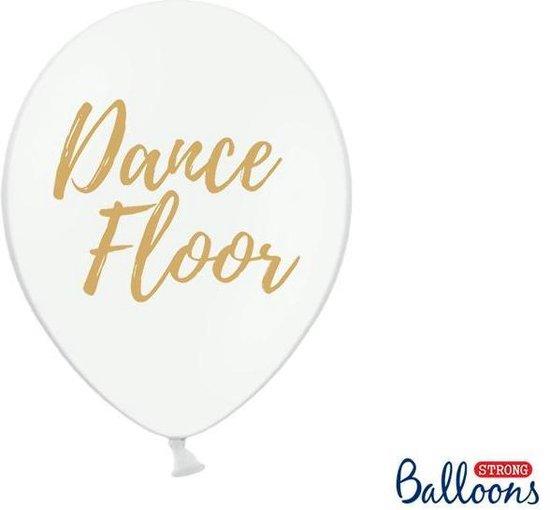 Ballonnen wit Dance Floor goud 50 stuks