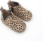Babyslofjes - Mt 6 - 12 Mnd - Luipaardprint - Echt Leder - Babylaarsjes - Kraamcadeau - Baby's Eerste Schoentjes