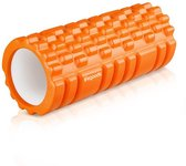 LifeGoods Grid Foam Roller – Trigger Point Massage - Fitness – Yoga – Pilates – Fascia – Bindweefsel - Soft – 33cm - Oranje