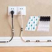 Kabel clips - 20 stuks - zelfklevend - kabel houders - zwart - kabel organizer