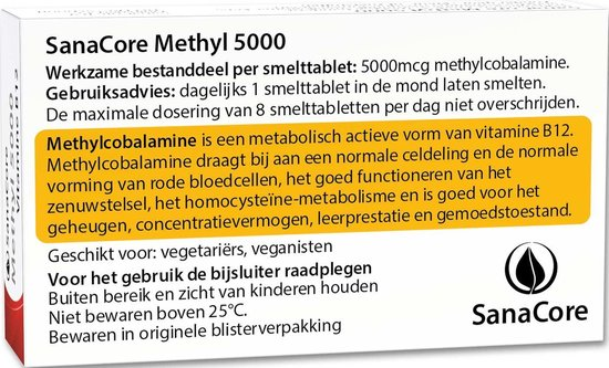 SanaCore Methyl 5000 - Actieve Vitamine B12 - 60 zuigtabletten - Methylcobalamine