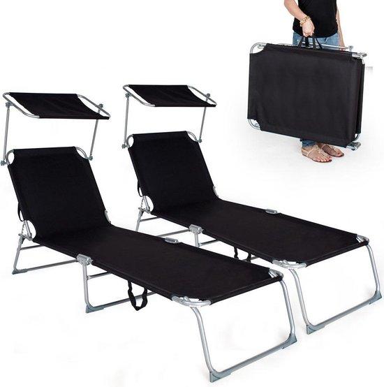 2 Ligbedden met zonnedak Ligstoelen zwart 400683