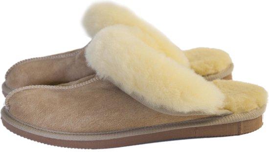 Schapenvacht pantoffels - Lamsvacht dames slippers - Camel - Maat 40
