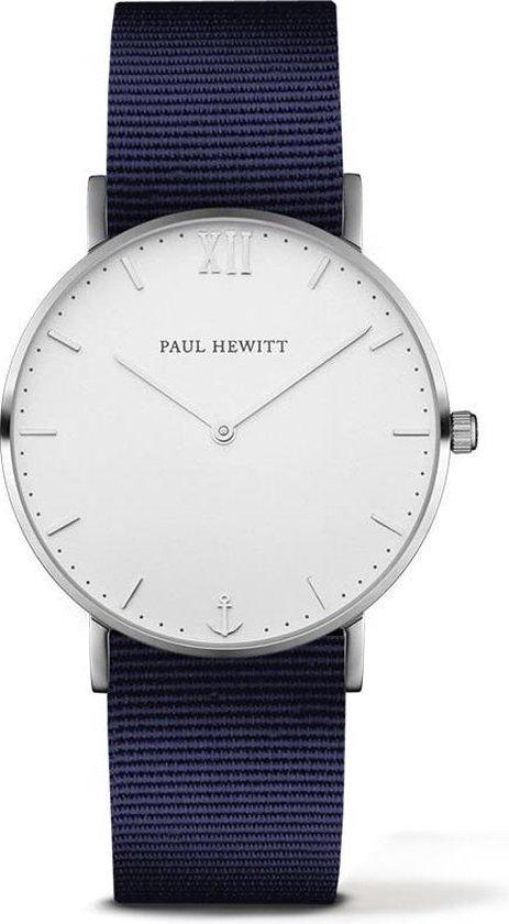 Paul Hewitt Sailor Line White Sand Stainless Steel Perlon PH-SA-S-ST-W-N-20 – Horloge – Nylon – Blauw – Ø 39mm