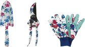 Tuin gereedschap - set - tuin handschoenen - snoeischaar - tuinschep - hortensia  - cadeau