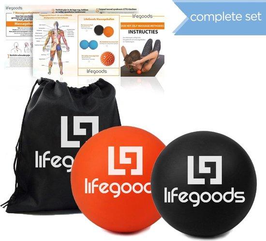 LifeGoods Massage Ballen Complete Set - Trigger Point Ball – Fascia Lacrosse Ballen - Hard - Zwart/Oranje - Met Instructies - Voor Zelfmassage