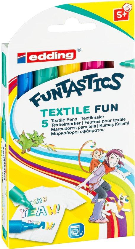 Afbeelding van Funtastics Textiel Fun stiftenset van Edding, ideaal voor kinderen. meteen te gebruiken