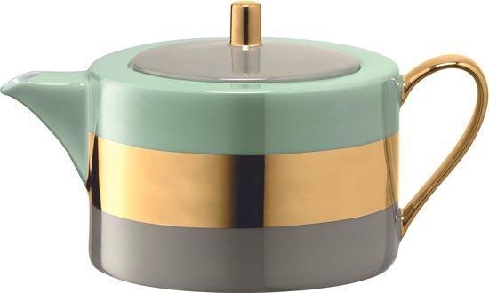 L.S.A. Bangle Theepot - Porselein - 1,2 liter - Metallic Groen
