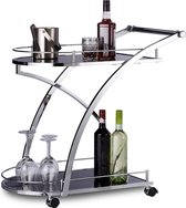Relaxdays - keukentrolley glas - rond zwart - keukenwagen - serveerwagen