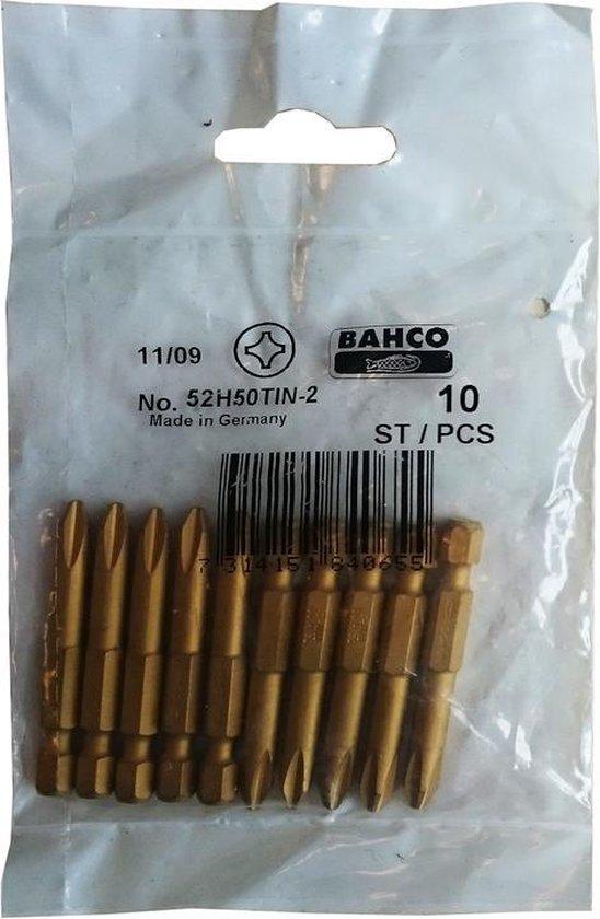 BAHCO 1/4 inch titaan bit Phillips 2x 50mm 52H50TIN-2, 10 stuks 11/09
