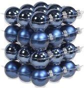 36x Blauwe glazen kerstballen 4 cm - mat/glans - Kerstboomversiering blauw
