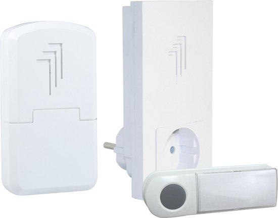 Byron DB432E - Draadloze deurbel duopack - 50m - Draagbare deurbel & Plug-in deurbel met stopcontact - Beldrukker - Wit