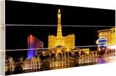 Verlichte Las Vegas strip Hout 60x40 cm - Foto print op Hout (Wanddecoratie)