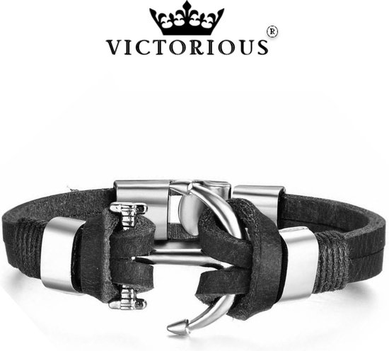 Victorious Anker Zwart Leer Trend Collections – Mannenarmband – 22cm - Victorious
