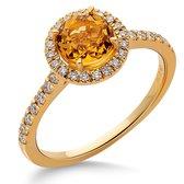 Orphelia RD-3925/56 - Ring - Goud 18 kt - Diamant 0.24 ct / Citroenkwarts 0.85 ct - 17.75 mm / maat 56