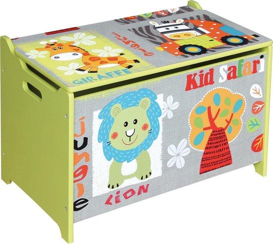 Playwood - Houten gekleurde speelgoedkist Wilde Dieren - Opbergkist