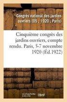 Cinquieme congres des jardins ouvriers, compte rendu. Paris, 5-7 novembre 1920