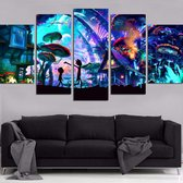 Rick and Morty Psychedelic Mushroom World Wand Decoratie | 5 Canvas Panels