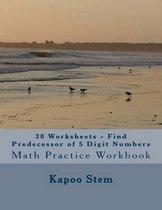 30 Worksheets - Find Predecessor of 5 Digit Numbers