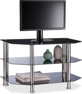 relaxdays TV meubel glas - televisietafel zwart - lowboard 3 etages - tv kast open design