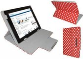 """Polkadot Hoes  voor de Aoc Breeze Tablet Mw1031 3g, Diamond Class Cover met Multi-stand, Rood, merk i12Cover"""