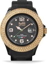 Tutti Milano TM004NO-RO-Z-Horloge -   48 mm - Zwart - Collectie Cristallo