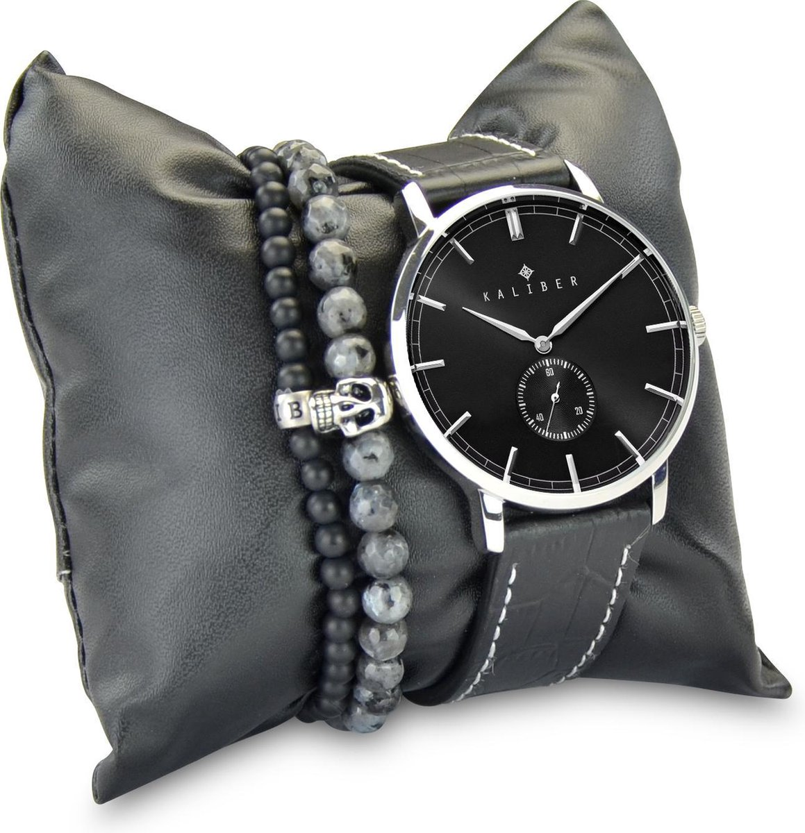 Kaliber 7KA SET012 Horloge Set met Armbanden - Leren Band - Ø 40 mm - Zwart / Zilverkleurig - Kaliber