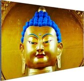 Goud met blauw Boeddha beeld Aluminium 180x120 cm - Foto print op Aluminium (metaal wanddecoratie) XXL / Groot formaat!