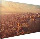 Vogelvlucht over Manhattan Canvas 60x40 cm - Foto print op Canvas schilderij (Wanddecoratie woonkamer / slaapkamer) / Steden Canvas Schilderijen